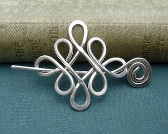 Celtic Sterling Silver Shawl Pin, Looping Crossed Knots Mother's Day Scarf Pin, Sweater Brooch, Wrap Fastener, Shawlette Closure, Knitting