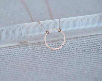 Rose Gold Necklace, Dainty Rose Gold Circle Necklace, Gift for Her
