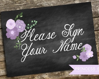 Please Sign Your name Wedding Sign Printable, Purple Floral 5x7 JPG and PDF