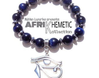 Blue Tigers Eye // Kemetic Jewelry, Eye of Ra, Eye of Horus, Eye of Heru, Protective Eye, Egyptian Jewelry, Third Eye Chakra Gemstone