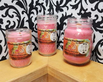 Strawberry Champagne - 100% Soy Wood wick Candles