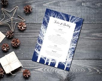 Winter Trees Menu Wedding Party Romantic Christmas Navy Blue New Years Eve
