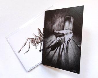 Stephen blank cards 2 pack, horror card, fantasy art, monster card, halloween card, black and white card, art card, horror print, scary card