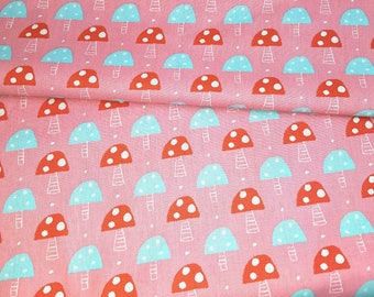 printed fabric 100% cotton mushrooms on pink background