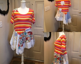 Lagenlook, tunic, recycled, refashioned, upcycled, boho, funky, fun, one of a kind, festival wear