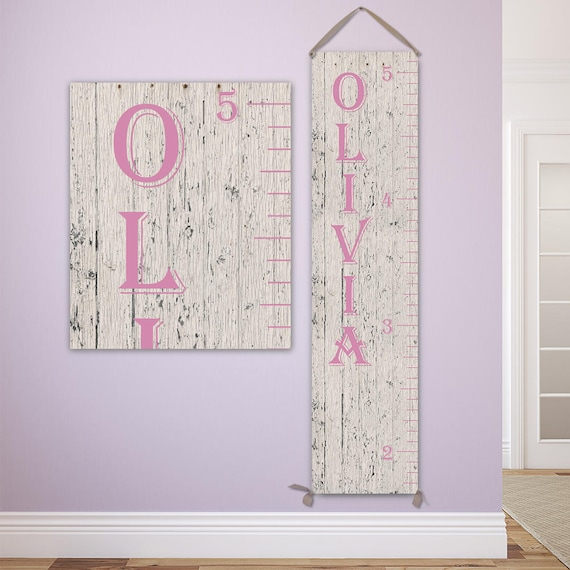 Pink Growth Chart - Personalized Growth Chart, Growth Chart Ruler, Canvas Wooden Growth Chart - GC0101P_Alg