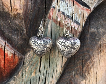 Puffy Heart Dangle Earrings Silver Tone, Mexican Heart Icon, Boho Jewelry, Boho Earrings