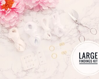 "Large Bra Findings Kit - White - Perfect for an Underwired Bra with 3/4"" Strap & Band Elastics and 3x3 Hook and Eye"