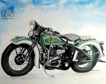 Watercolor picture motorcycle Harley Davidson original retro car