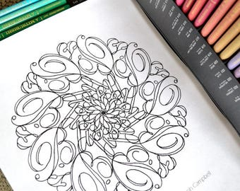 Follow Your Bliss - Joseph Campbell Quote Inspired Typography Mandala Coloring Page - Instant Download PDF