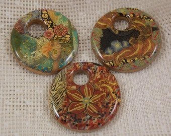 47mm Round, Mosaic Donuts with a hole in the center, 3