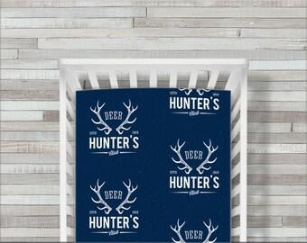 Deer Hunter Crib Sheet, Fitted Crib Bedding, Deer Crib Bedding, Toddler Crib Sheet, Buffalo & Buck