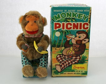 Monkey On A Picnic Toy, Vintage 1950s Battery Operated by Cragston in Box | Works!