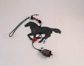 GALLOPING HORSE Bead & Bell Hanging, Wind Chime-w/ Colorful Red, White, Black Beads and Tuneful Noah Bell-For Window, Garden, Kitchen, Porch