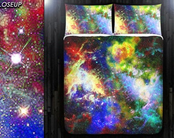 Mosaic Nebula Rainbow Space Galaxy Bedding Duvet Cover Queen Comforter King Twin XL Size Blanket Sheet Set Baby Crib Toddler Daybed Kids Bed
