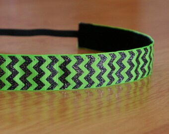 Neon green and black chevron headband. chevron headband, green and black headband, green headband, running headband, athletic headband