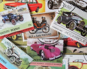FREE SHIPPING ; 50 classic car / automobile vintage used postage stamps from Tuvalu, St. Vincent and some other countries.