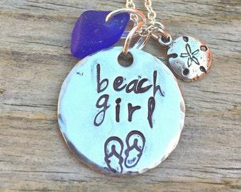 Beach Girl Necklace, Hawaiian Jewelry, Sea Glass Necklace, Personalized Necklace, Birthday Gift, Beach Necklace, Hawaiian,  natashaaloha