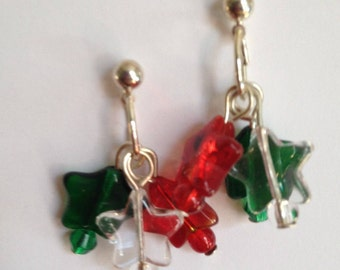 Red, green and clear star post earrings, handmade earrings, holiday earrings
