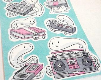 Haunted 80s Retro Dead Format Ghost Sticker Sheet