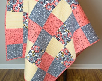 Baby Quilt. Floral Baby Quilt. Baby Quilts Handmade. Patchwork Quilt. Baby Girl Nursery. Floral Nursery. Minky Baby Blanket. Baby Blanket.
