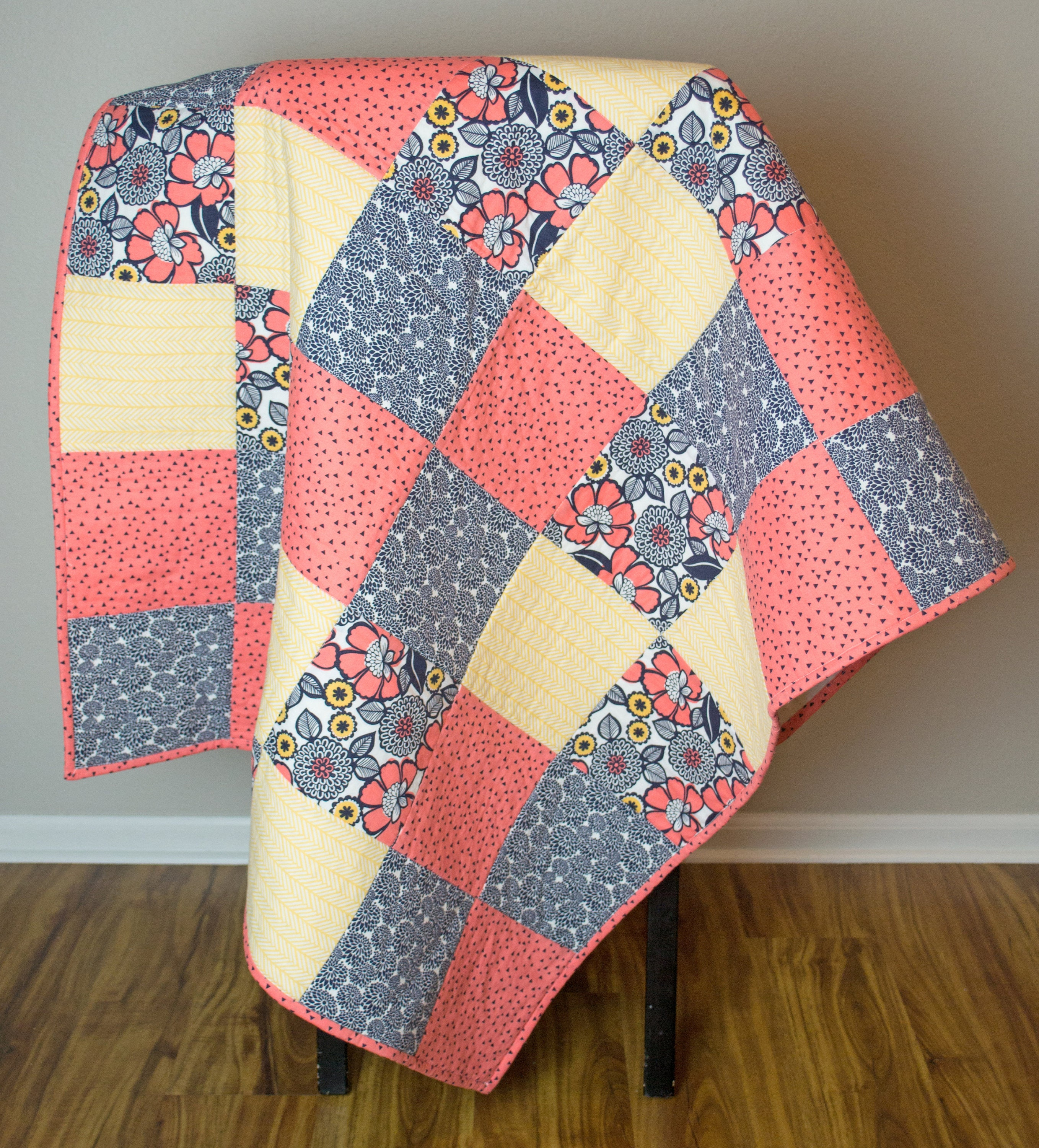Baby Quilt. Floral Baby Quilt. Baby Quilts Handmade. Patchwork