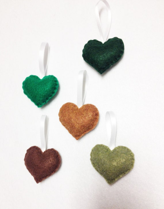 Heart Ornament, Felt Ornament Set - Greenery Sprinkle Hearts - Holiday Decoration