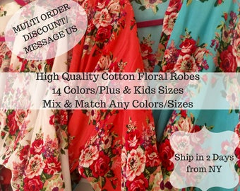 Bridesmaid Robes Sale! 14 Colors, Bridesmaid Gift, Bridesmaid Proposal, Cotton Floral Robe, Getting Ready Robes, Wedding Robe, Kimono Robe
