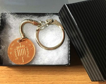 30th birthday gift 1988 one penny coin keyring - decimal coin