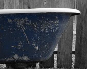 Antique Bath tub Blue on Black and White