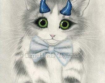 Cute Devil Kitten Canvas Print Blue Horns Big Eye Fantasy Cat Art Limited Edition Canvas Print 11x14 Art For Cat Lover