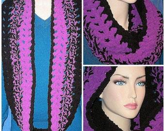 Black Crochet  Infinity Scarf, Purple Crochet Infinity Scarf, Purple Chunky Infinity Scarf,Purple Chunky Infinity Scarf Plush Infinity Scarf