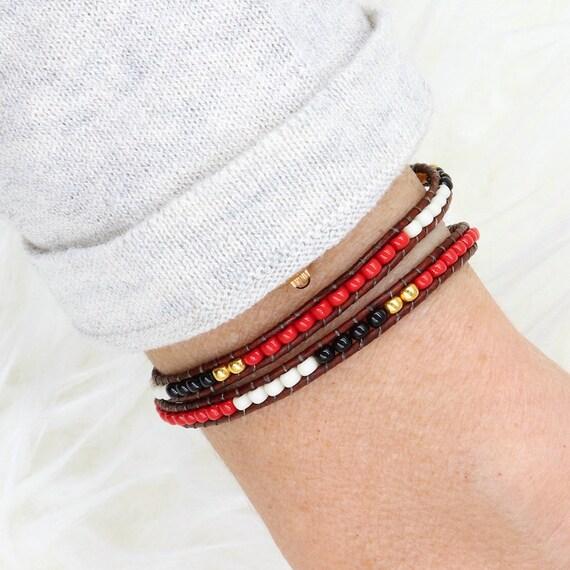 Red miyuki Beads Bracelet women wrap twice