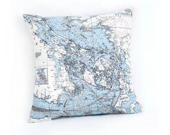 San Juan Islands, WA Indoor/Outdoor Nautical Pillow