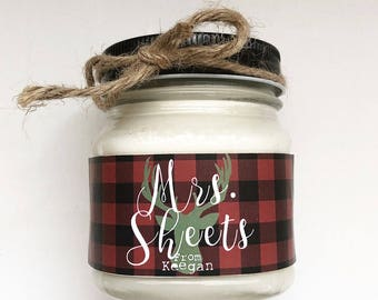 8 oz. Holiday Favor Candle//Christmas Candle Favor// Teacher Gift/ Buffalo Plaid // Christmas Gift / Christmas Card//Christmas Party Favor//