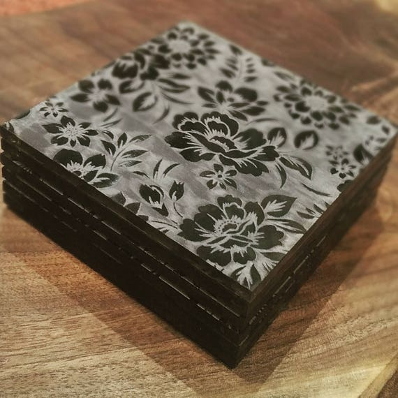 Chintz Floral Engraved Drink Coasters - Available in Black, White, Smoke or Fluorescent Green, Orange or Pink