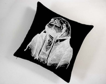 Professor Walrus silk screened cotton canvas throw pillow 18 inch white on black