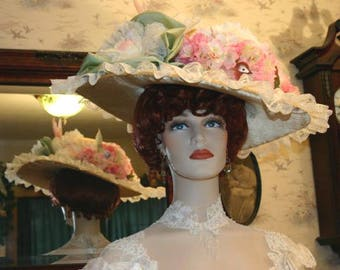 SPECIAL ORDER - Choose Your Own Colors, Edwardian Hat, Titanic Hat, Somewhere Time Hat, Downton Abbey Hat - Miss Spring Song