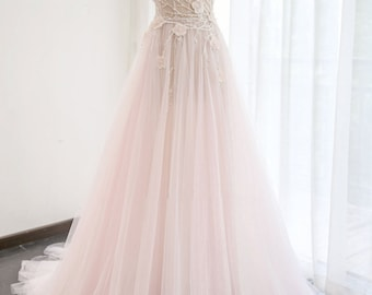 Wedding Dress/A-Line Corset Beaded Pink Bridal Dress/Pink Wedding Dress/Prom Dress