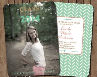 Mint and Coral Graduation Invitation - Open House - PRINTABLE - Photo - Tribal - Arrows - Geometric - Gold - FRONT and BACK
