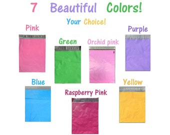 12x15.5 Pink, Purple, Blue, Green, Yellow, 7 Colors! Flat Poly Mailers, Mailing Shipping Bags, Colored Poly Mailer Envelopes Combo(100 or 50