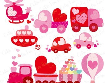 Love Transport Clipart , Sweet Heart Transport Clipart, Pink Train Truck Helicopter , Happy Valentine's Day (CG122) / INSTANT DOWNLOAD