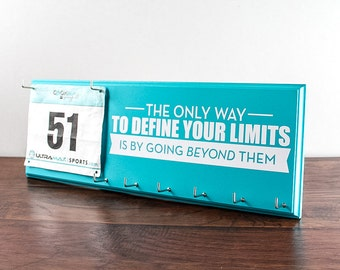 Running Medal Holder and Race Bib Hanger - running medal rack race bib The only way to define your limits is by going beyond them.