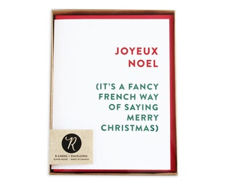 Merry Christmas Card Boxed Set, Holiday Cards, Boxed Set, Joyeux Noel, Christmas Cards, Funny Christmas Cards