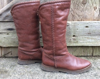 Italian Brown Leather Boots, Winter Boots, Shearling Lined, Made in Italy, Size 4.5 UK