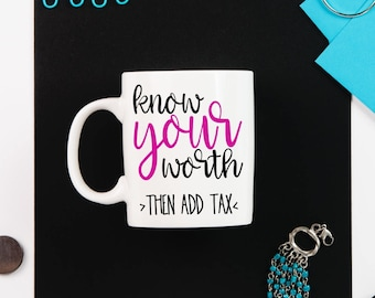 Know Your Worth Coffee Mug // Inspirational Coffee Mug // Motivational Mug // Ceramic Mug // Coffee Mug // Boss Babe Gift // Gift for Her