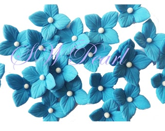 Royal Blue Flowers Hydrangea Veined Various Colors Set edible sugar cake cupcake toppers