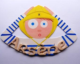 Wood - P initials ' breton sailor boy