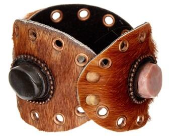Leather Cuff Bracelet, Grommet bracelet,Agate stone Bracelet,Brown,Mens jewelry, women's cuff,Unisex,Boho chic,Tribal Cuff-Renaissance
