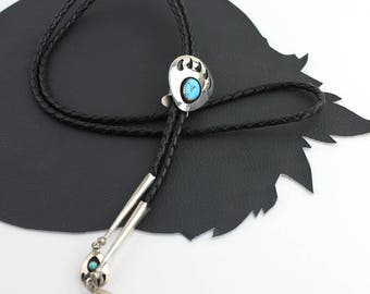 Turquoise & Silver Bear Claw Bolo Tie with Black Leather Cord